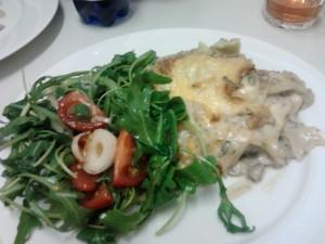 Champignon-Lasagne mit Ruccola